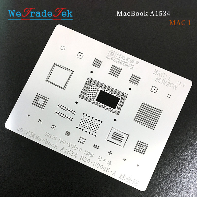 0.12mm Thickness BGA Reballing Stencil Kit Solder Template for Macbook 2015 A1534 820-00045-A <font><b>SR23G</b></font> CPU Tin Planting Net image