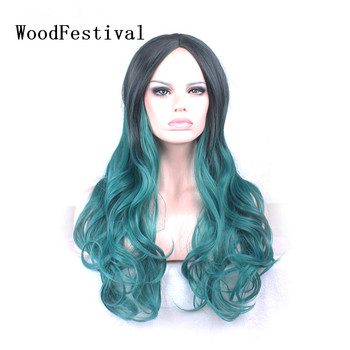 WoodFestival Women Synthetic Wigs Heat Resistant Cosplay Wig Hair Long Wavy Ombre Black to Green Pink Red Purple Blue Brown woodfestival 20inch women wigs hair heat resistant black to navy blue curly synthetic wig cosplay