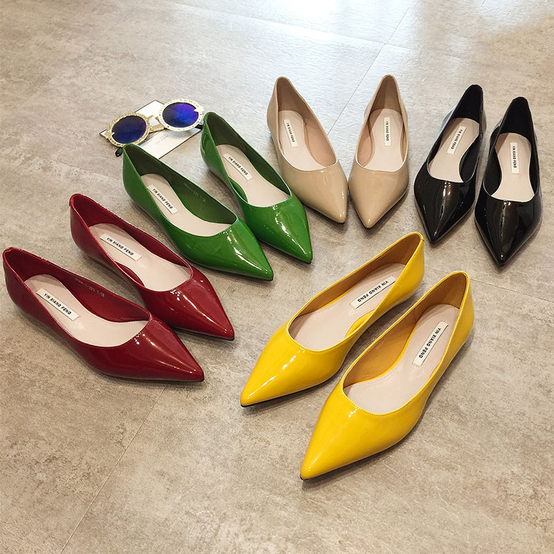 Flat Heel Shoes Women Pointed Toe Patent Leather Lemon Yellow Wine Red Lady Fashion Flats Candy Color Flat Sole Large Size 42 43