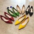 Туфли на плоской подошве; Женские туфли из лакированной кожи с острым носком; Цвет лимонно-желтый, винно-красный; Модные женские туфли на пло...