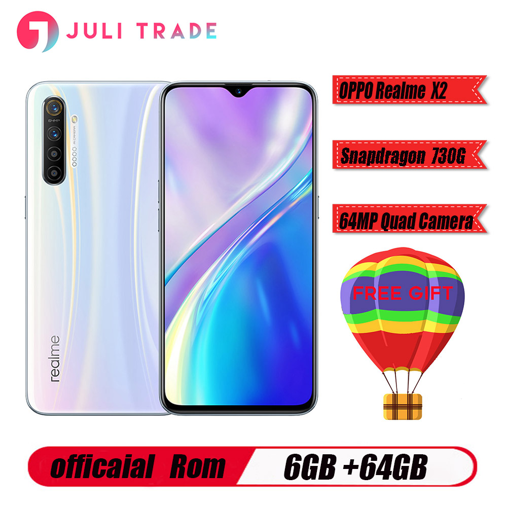 Original Oppo Realme X2 Mobile Phone Snapdragon730G 6.4 inch Super AMOLED Screen 6GB 64GB Camera 64.0MP Four Shot NFC Smartphone image