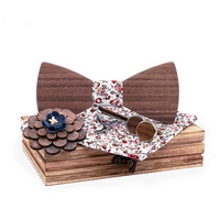 Wooden Tie Set Collar Clip Cuff Button, Wedding Tie Pocket Square Scarf Neck Tie Luxury Tie Wooden Bow Tie