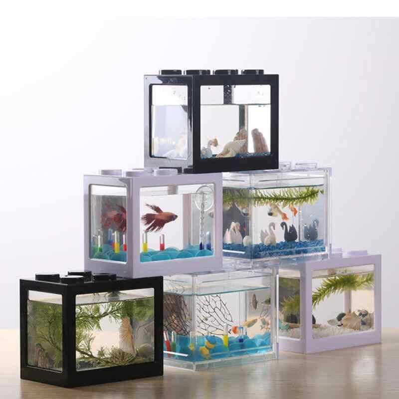 Kreatywne wielokolorowe stackowalne klocki ekologiczne Mini akwarium małe gad domowy krajobraz seawe