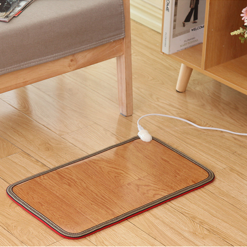 30x50cm Heated Electric Floor Carpet Pad Office Mat Feet Warmer Comfortable Plug In Home Infrared Radiation Winter Thermal Soft