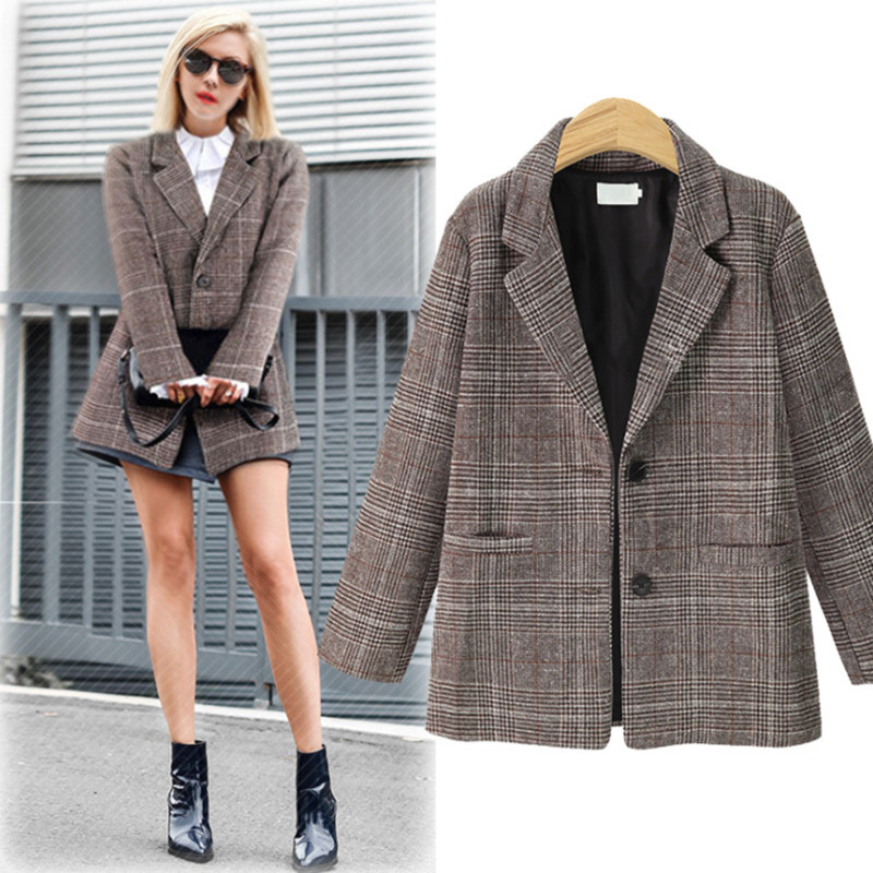 Autumn Winter Blazer Women Coats 2020 Casual Long Sleeve Oversize Jacket Female Vintage Slim Office Plaid Blazers Outwear New