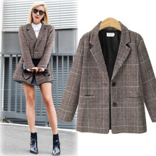 Autumn Winter Blazer Women Coats 2020 Casual Long Sleeve Oversize Jacket Female Vintage Slim Office Plaid Blazers Outwear New