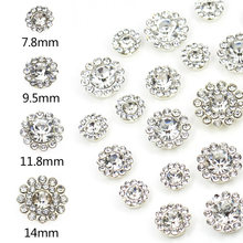 20Pcs Round Flower Rhinestones 7.8MM 9.5MM 11.8MM 14MM Crystal Color Flatback Sewing Rhinestone Gold Sliver Base With Jewelery