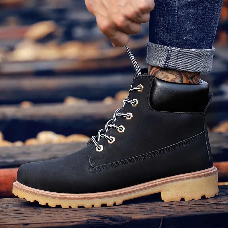 Coturno preto alto superior botas de neve de inverno botas de couro dos homens à prova dwaterproof água com pele manter quente madeira bot booties sapatos terra