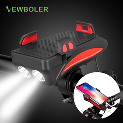 NEWBOLER bicicleta banco de energía luz USB recargable linterna teléfono soporte campana bicicleta faro 4000 mAh ciclismo cuerno luz Led