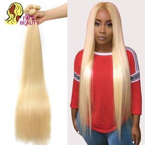 Image 4 - Facebeauty 613 Blonde 1/3/4 Brasilianische Haar Bündel Gerade Webart Remy Menschenhaar Schuss 26 28 30 32 34 36 38 40 zoll Freies Verschiffen