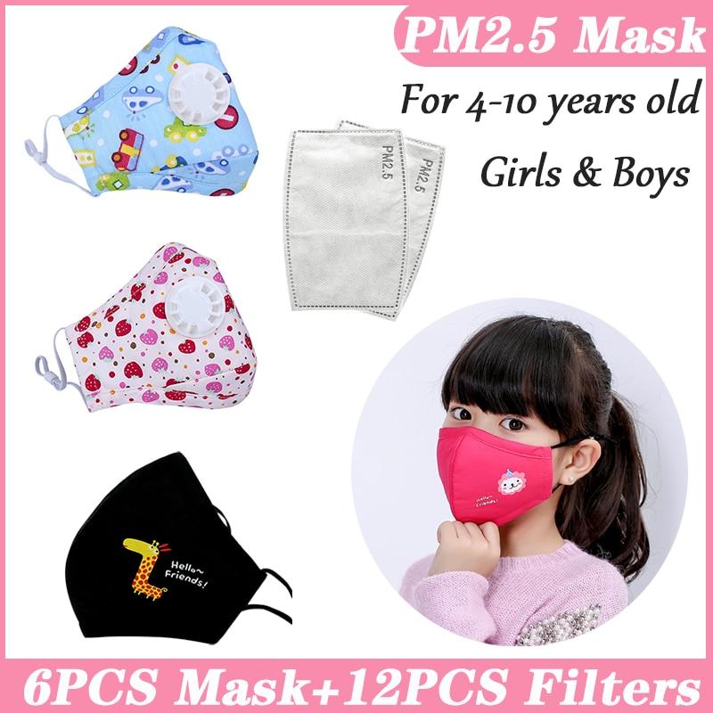 PM25 Filter Kids Children Face Mouth Mask Kids Masks Cotton Reusable Washable Mask Black Child Kid PM2.5 Mask Cartoon Pink Cute