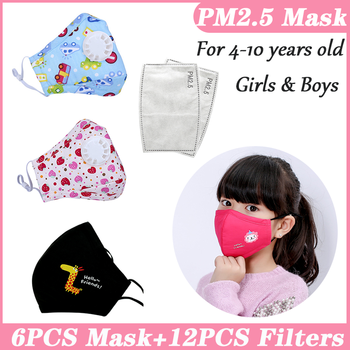 PM25 Filter Kids Children Face Mouth Mask Kids Masks Cotton Reusable Washable Mask Black Child Kid PM2.5 Mask Cartoon Pink Cute