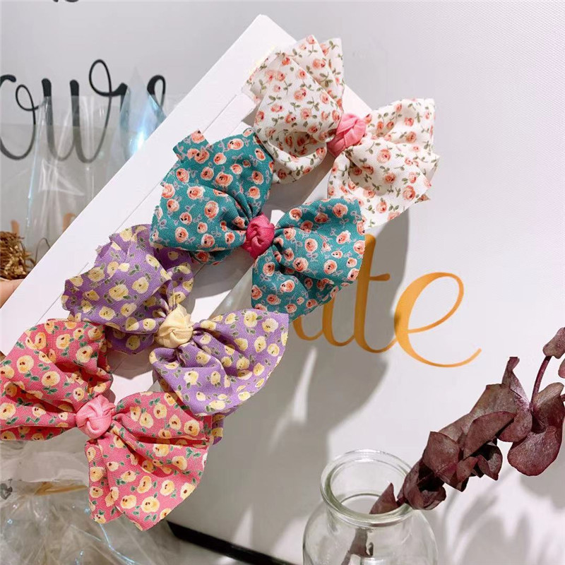 Beautiful Spring Summer Polka Dot Hair Clips Lovely Girl Bow Tie Floral Hair Accessories Children Sweet All Accessories