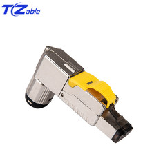 Cat6A Cat7 Cat8 RJ45 Connector 40Gbps 2000MHz 90 Degree Ethernet Adapter Shielded RJ45 8P8C Networking Plug LAN Cable Connectors