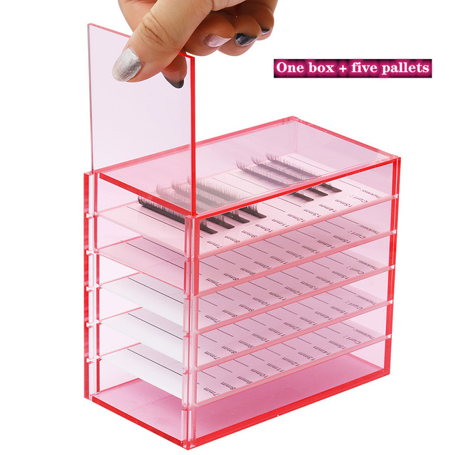 5 Layers Lash Boxes Transparent Eyelash Extension Storage Box Organizer Acrylic Lash Pallet Holder Case Grafting Eyelash Display 1