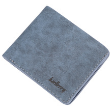 radean Men Retro Frosted PU Wallet Two Folding Male Purse Credit Card Holder Solid Color Short Mens Leather Genuine