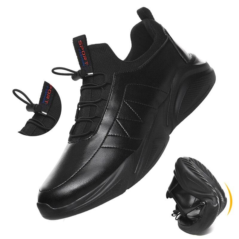 Flexible Leather Men's Casual Shoes Comfor Zapatos De Hombre Men Shoes 46 Walking Shoes Plus Size 48 Autumn Black Sneakers
