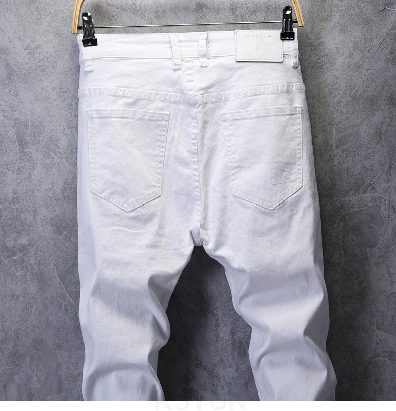 KSTUN Skinny Jeans Men Solid White Mens Jeans Brand Stretch Casual Men Fashioins Denim Pants Casual Yong Boy Students Trousers Cowboys 14