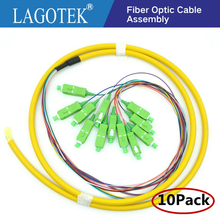 10 adet/grup 12 Çekirdek 12 renk Fiber 0.9mm 1.2 m 9/125 Singlemode SC/APC Bunchy Paket Pigtail Fiber optik lif