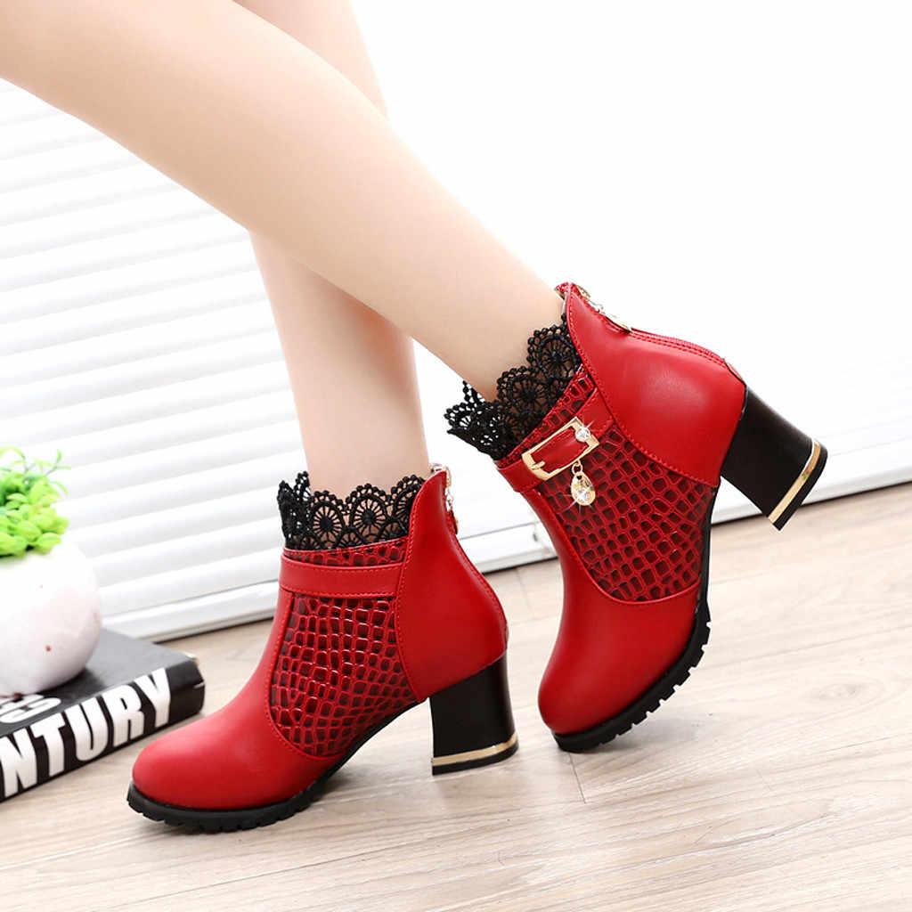 Ren Martin Giày Boot Cổ Ngắn Nữ Thu Đông Da Vintage Nữ Giày Thời Trang Khóa Dây Giày Gót Vuông Bota Feminina