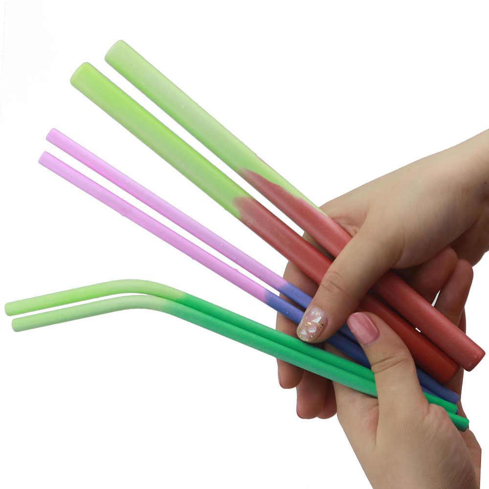 5 stks/set Eco Vriendelijke Herbruikbare Rietjes Rvs Rietjes Inductie Temperatuur Kleurverandering Metalen Smoothies Rietjes