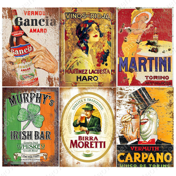 Irish Pub Plaque Beer Vintage Metal Tin Signs Bar Club Cafe Home Decor Man Cave Wall Art Poster Italian Wine Metal Painting N363 dad s barbecue decorative signs beer bbq plaque metal vintage wall bar home art retro restaurant decor 30x20cm du 6034a