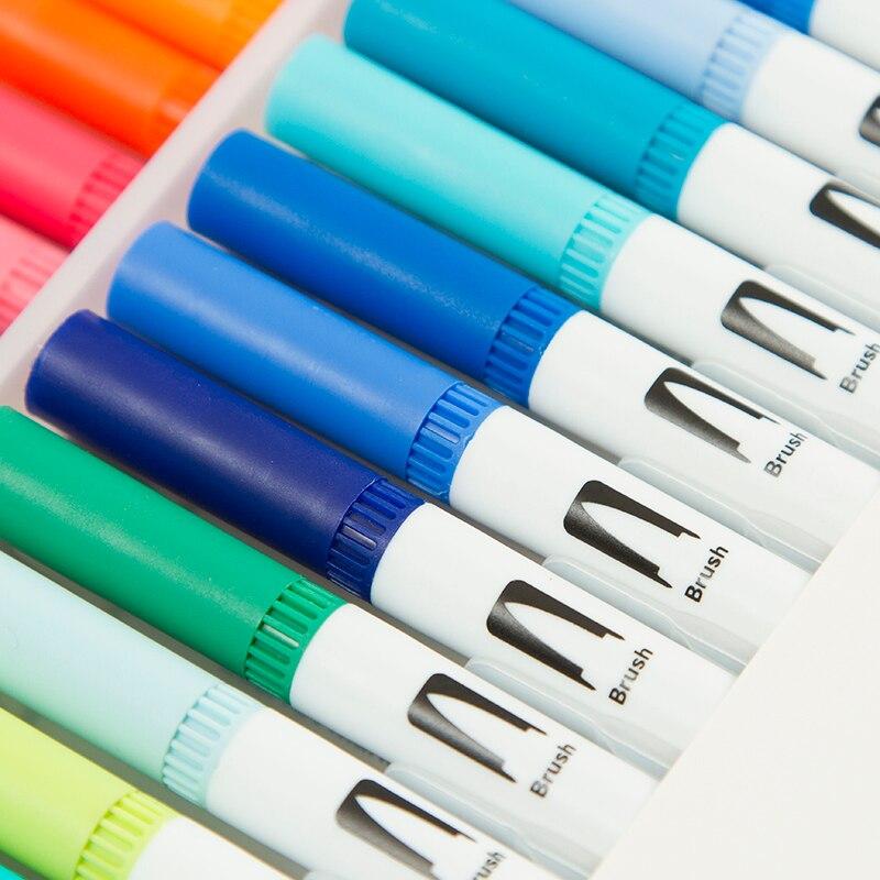 100 ponta dupla escova caneta marcador conjunto 04