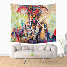 India Tropical Wall Hanging Tapestry Watercolor Animal Elephant Lion Printed Polyester Throw Beach Towel Home Yoga Mat