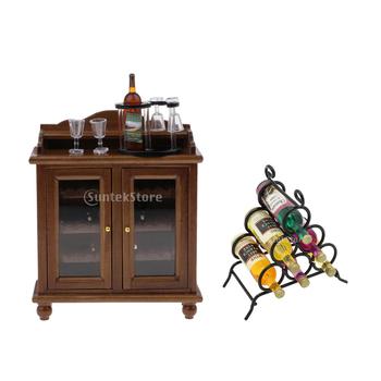 Vintage drewniana szafka do wina zestaw i stojak na wino lalka meble domowe kolekcje rękodzieła 1 12 tanie i dobre opinie MagiDeal Drewna Unisex 1 12 3 lat Symulacja pokoju meble
