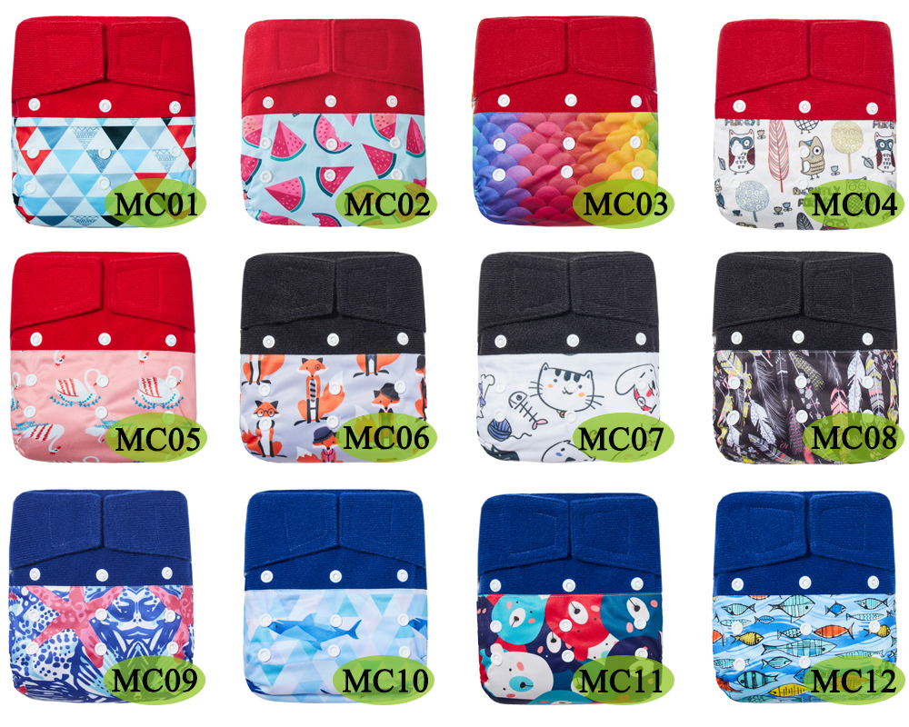 4Pcs Hook Loop OS Cloth Diaper Baby Pocket Diapers One Size Fits all Stay Dry Polar Fleece Inner Waterproof PUL Outer fit 5-15kg