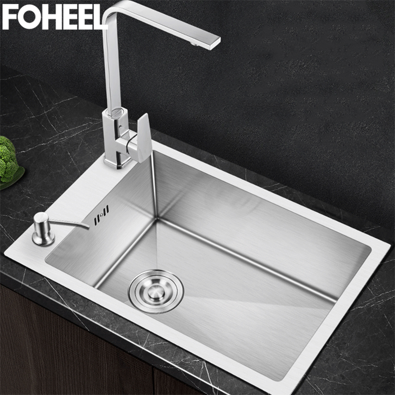 FOHEEL Stainless Steel Kitchen Sink Small Single Bowl Above Counter Or Undermount Handmade Brushed Commercial Bar FKS04