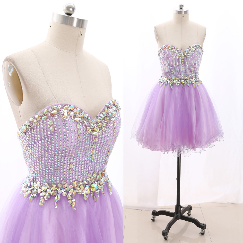 MACloth Lavender Short Strapless Knee-Length Short Crystal Tulle   Prom     Dresses     Dress   L 267461 Clearance