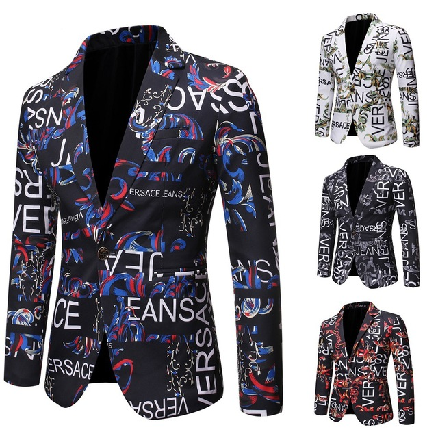 Brand Suit Jacket Fashion Print Men Blazer Best Selling Slim Fit Casual Blazer Homme Coat Hip Hop Singer Flower Blazer
