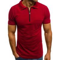 3XL estate tinta unita uomo Patch tasca cerniera girare verso il basso colletto manica corta T-Shirt uomo Top uomo abbigliamento uomo Dropshipping