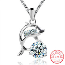 925 Silver Wedding Jewelry AA Cubic Zirconia Dolphin Pendant Love Necklace For Women Gift 45cm Chain choker collares kolye S-N77