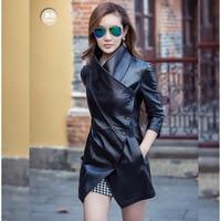 Women's Autumn Gothic Black Faux Leather Jacket Coat 2019 Fashion Fall Winter Outerwear Plus Size Windbreaker Clothes 4XL
