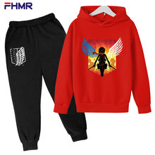 Spring and Autumn Children Boys and Girls Casual Wear Fashion Sports Attack Giant Printing Hooded Two-piece Cotton 4-14T