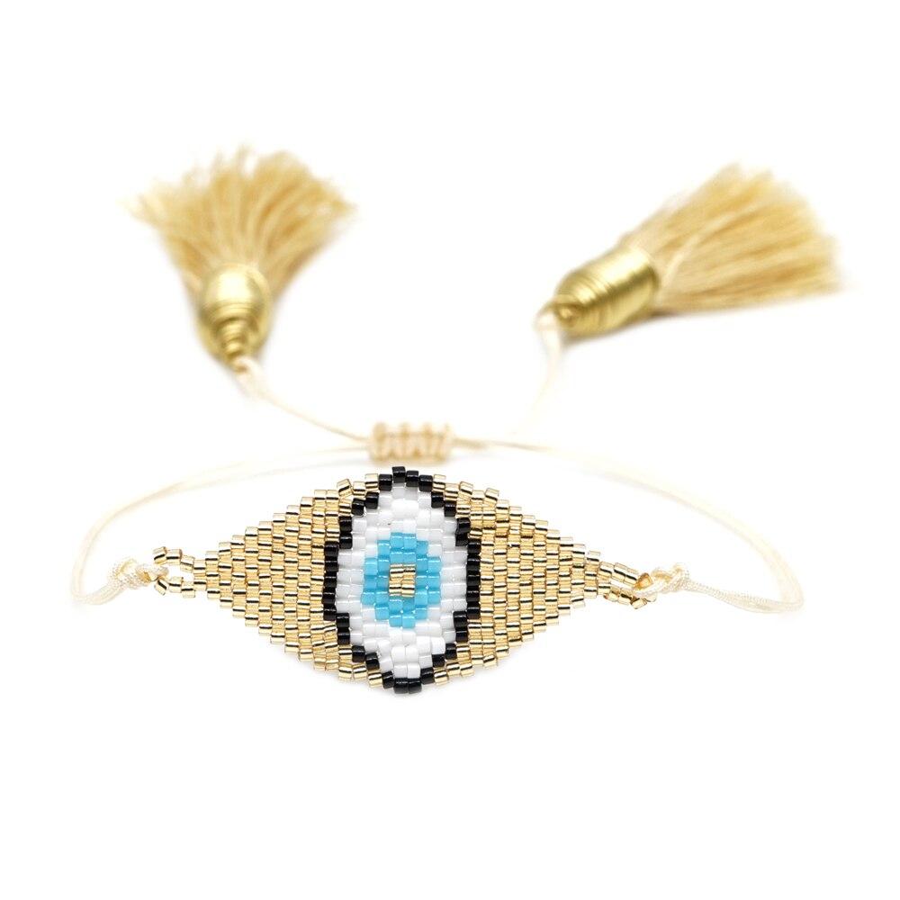 Go2boho MIYUKI mauvais oeil Bracelet or brassard Pulseras Mujer 2019 turquie mauvais œil Bracelets à la main femmes cadeau bijoux gland