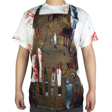 Scary Butcher Halloween Costume for Men Horror Bloody Devil Costumes Short Sleeve T Shirt Plus Size