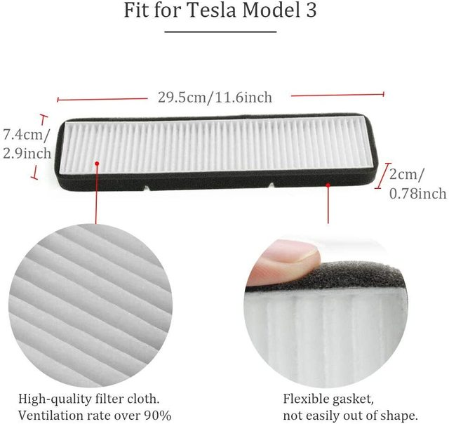 Car Air Conditioner External Intake Filter Element Air inlet screen For Tesla Model 3 Model Y 2017-2020 effective blocking PM2.5 6