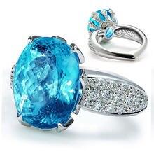 Роскошное посеребренное кольцо с овальным кристаллом Женское