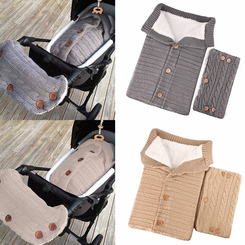 New Winter Warm Newborn Baby Sleeping Bags Infant Button Knit Swaddle Wrap Swaddling Stroller Wrap Toddler Blanket Sleeping Bags