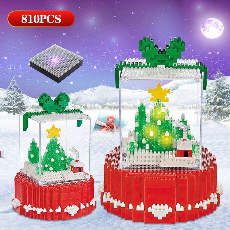 LOZ Mini Blocks LED Merry Christmas Tree Kids Toy Diamond  Building Block Bricks Educational Toy For Children Christmas Gifts