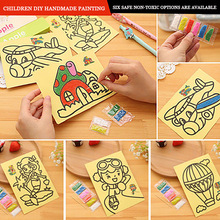 Sand painting set handmade DIY scratch painting materials toys creative painting colored sand students gifts for the first semes