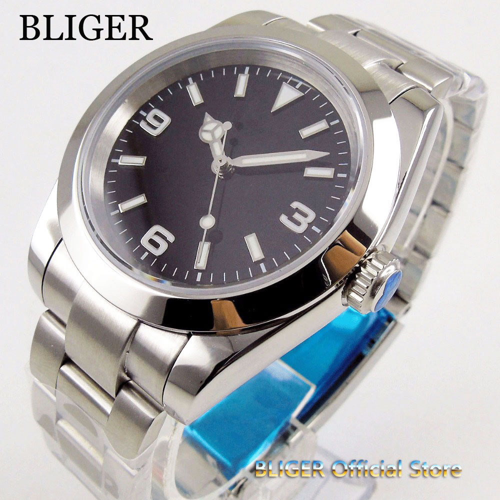 Solid 39mm Black Dial Luminous Sapphire Glass Polished Bezel 21 Jewels MIYOTA 8215 Automatic Movement Men's Watch Men