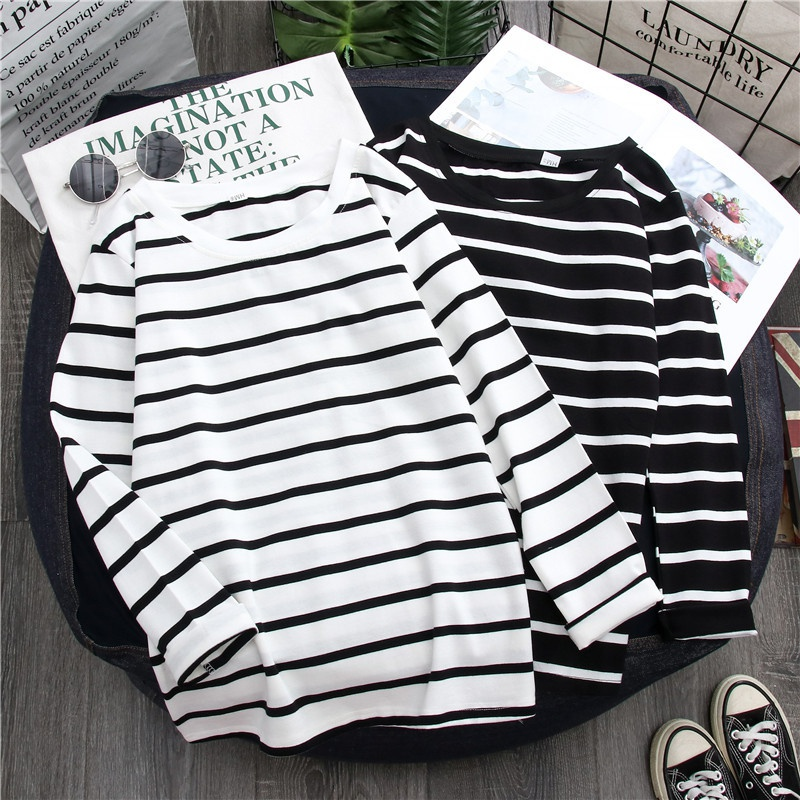 Women Autumn Shirt Loose T-Shirts Round Collar Summer Stripes Print Loose Long Sleeve Casual Simple Wild Shirt All-match Tops X