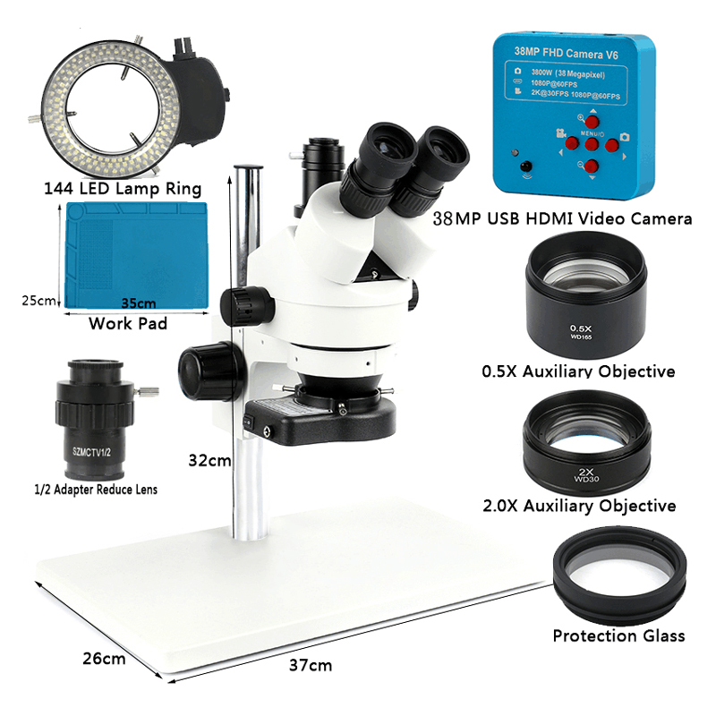 38MP 2K USB HDMI caméra vidéo numérique 3.5X-90X Microscope stéréo trinoculaire simul-focal pour outil de réparation de carte PCB de soudure de téléphone