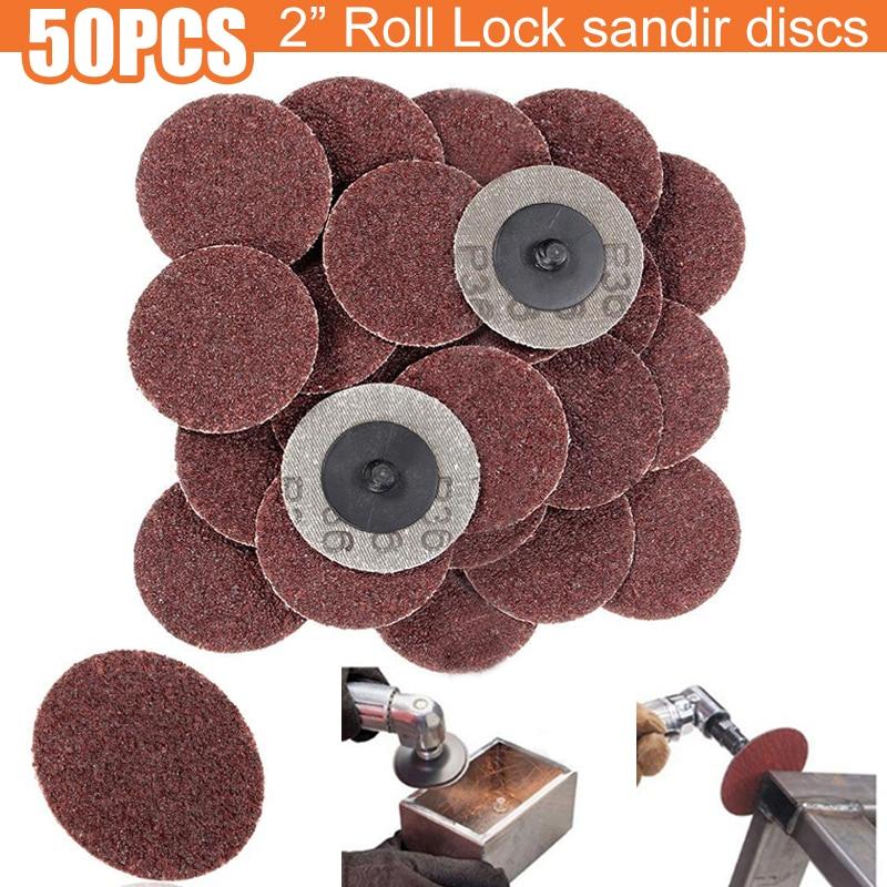 50pcs 50mm 36 Grit Sanding Disc Aluminum Oxide Roll Lock Sanding Roloc Disc Abrasive Sandpaper High Quality Rotary Tool