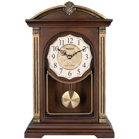 wooden table clock, hourly chiming function, swinging pendulum
