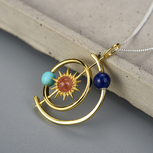 Image 4 - Lotus Fun Real 925 Sterling Silver Fine Jewelry 18K Gold Creative Solar System Pendant without Necklace for Women Christmas Gift